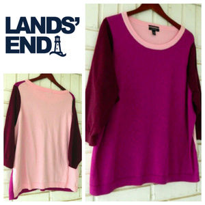 Lands End Sweater 24W 26W 3X 4X Colorblock Pink